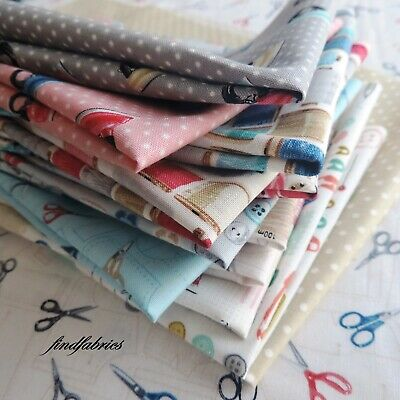 """Stitch in Time by Makower  5"""" Charm Pack ~ 10"""" Layer Cake ~ 12 Fat Eighth Bundle"""