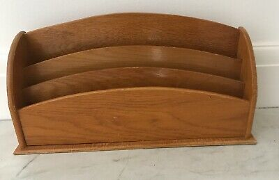Vintage Wooden 3 compartment Letter/Envelope/Post Rack-free standing-39.5x 20 cm