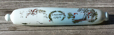 "Victorian white opaque glass rolling pin with ""A Sailor's Gift"" & Union Jack"