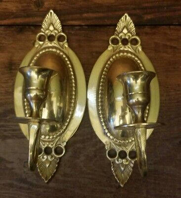 Vintage Solid Brass Single Arm Wall Hanging Candle Holders Scone, Pair