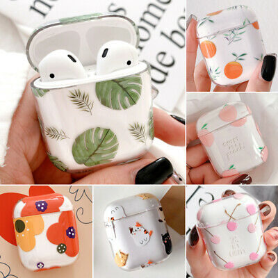 Transparent Fruit Peach PC Cover Skin For Apple Airpods Charging Case Earphones