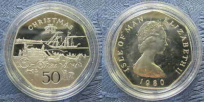 1980 BC Isle of Man 50p Fifty Pence Proof Coin, Xmas: Mr Pickwick's Travels, XF