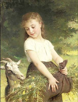 Vintage Little Girl with Goat by Emile Munier