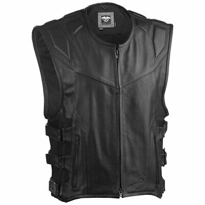 Highway 21 Mens Blockade 100% Genuine Leather Motorcycle Vest: Pick Size