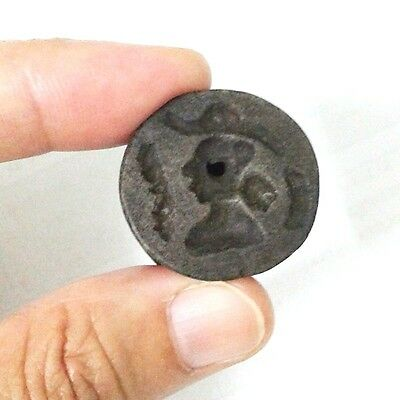 Rare Old Near Eastern Intaglio Animal Guy Carving 2 Side Black Bead Stone Stamp