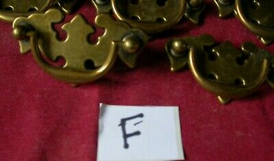 Cast Antique Brass effect plate handles and screws in new unused condition (F)