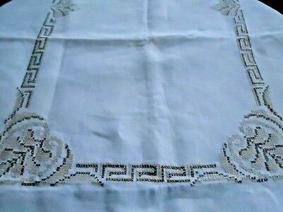 Vintage Large White Linen Tablecloth/Cross Stitch Hand Embroidery, 68X102, C1950