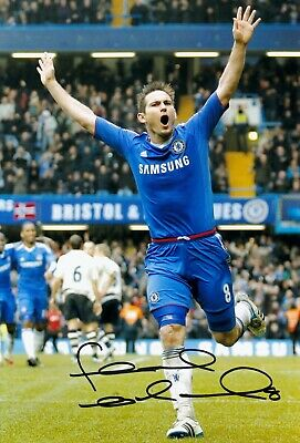 FRANK LAMPARD CHELSEA HAND SIGNED PHOTO AUTHENTIC + COA - 12x8
