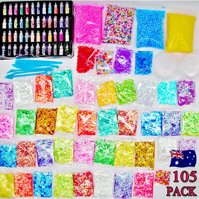NEW 105PCS  DIY Slime Making Supplies Tool Kit Beads Charms Kids Craft Toy AU