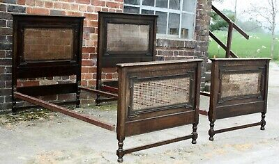 Pair of 1920s cane bergere and Oak single beds