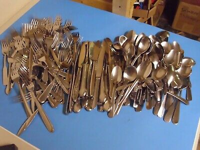 Lot Of 200 Stainless Steel Flatware For Arts + Crafts 80 Spoons 80 Forks Plus 40
