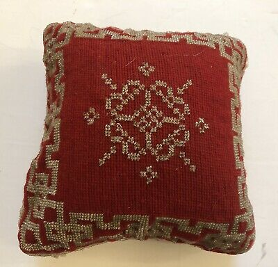 """Antique Vintage Victorian Pin Cushion Sewing Needlepoint Glass Beads 6 1/2"""""""