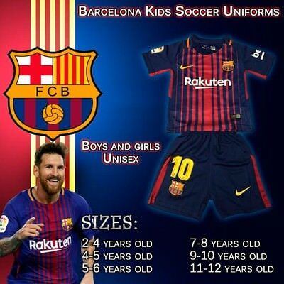 799d2ad1892 BARCELONA MESSI KIDS Set Soccer Jersey 2019 Kit Uniform Youth ...