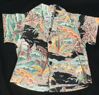 1940'or 1950's Vintage Children's Hawaiian Aloha Shirt  Toddler Rare Kids