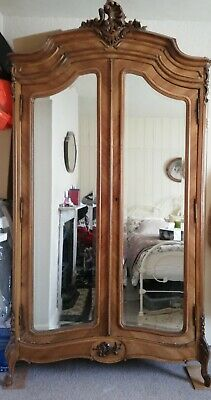 Stunning Antique French Walnut Double Mirrored Armoire Louis XV wardrobe