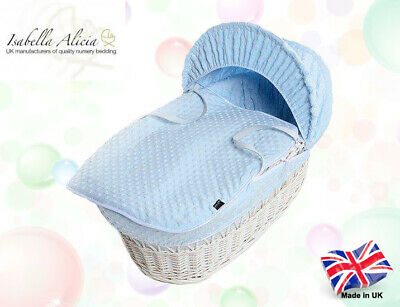 Isabella Alicia Super Soft Replacement Blue Dimple Moses Basket Dressing .