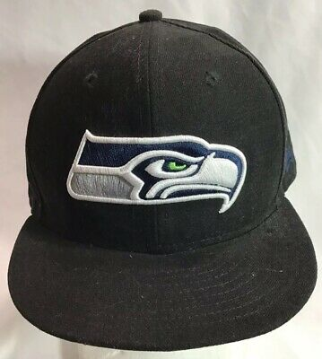 wholesale dealer b5f30 969a7 Seattle Seahawks NFL New Era 59Fifty Black Fitted Baseball Cap Hat Size 7 1  2