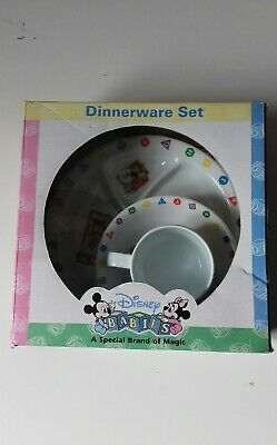 Disney Mickey Mouse Alphabet Print Childs Dinnerware Plastic Set Cup Bowl Plate