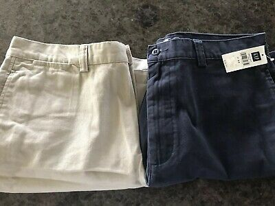 2 Two Pr New Mens Gap Shorts Size 38 Relaxed Fit Navy And Khaki Nwt Ret 29.50 Ea