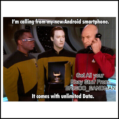 "Fridge Fun Refrigerator Magnet Star Trek ""ANDROID PHONE w/ UNLIMITED DATA"" Funny"
