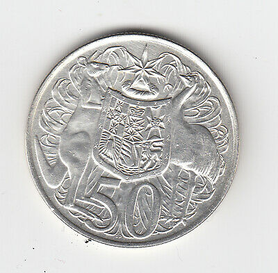 1966 Australia Round Fifty 50 Cent Coin (80% Silver) - Great Vintage Coin