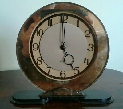 Antique Art Deco Smiths English Clock Mirrored  Mantel Wind Up Retro Vintage