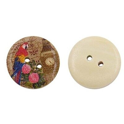 50Pcs Flower 2 Holes Wooden Buttons Sewing DIY Craft Scrapbooking Sewing Tool