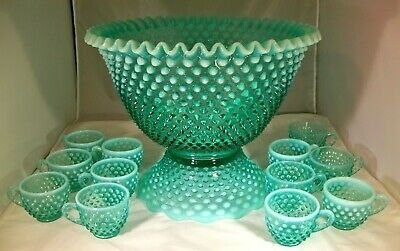FENTON HOBNAIL BLUE GREEN OPALESCENT 14-PIECE FOOTED PUNCH BOWL SET w/12 CUPS!
