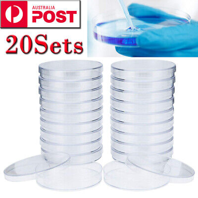 20Set 90mm Sterile Plastic Petri Dishes Plate For Lab Bacterial Yeast AU