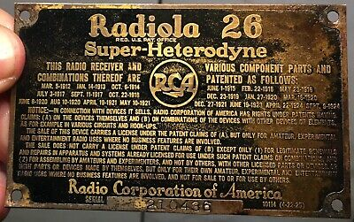 1930s tombstone • Super-heterodyne 26 • badge only‼️cathedral tube radio sign‼️