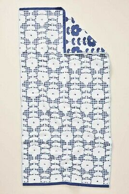 NWOT ANTHROPOLOGIE BLUE WOVEN OMBRE HAND TOWEL BLUE JACQUARD MADE IN PORTUGAL