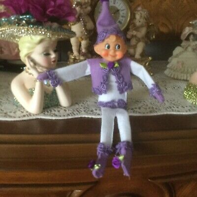 12 Inch Pink Elf. Handmade In Vest And Pants In Purple. This Is A Boy Elf.