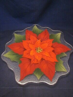 """PEGGY KARR GLASS ART Plate 13.5"""" Scalloped Red Poinsettia Christmas ~ EXCELLENT"""