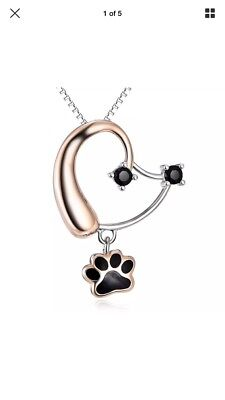Silver Mountain 925 Sterling Silver Forever Love Heart Puppy Paw Pendant Dog