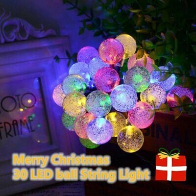 30LED Solar String Lights Outdoor Lights Bubbles Crystal Ball Fairy Decoration