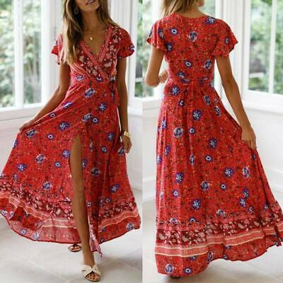Sundress long evening dress beach party Women's floral cocktail summer maxi boho