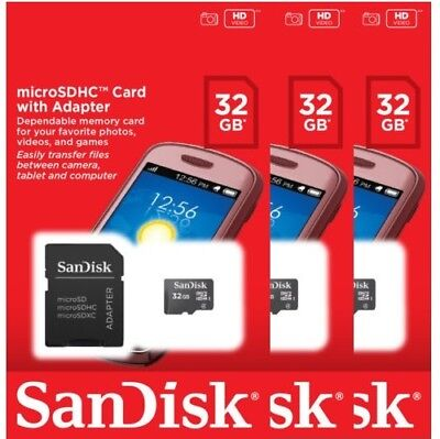 Lot of 3 SanDisk 32GB CLASS 4 micro SD SDHC Flash Memory Card PACK + ADAPTER