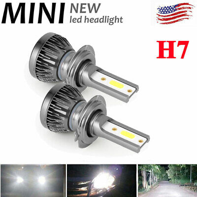 2PCS CREE H7 MINI Car LED Headlight Kits 8000LM Hi-Low Beam Bulbs 6000K White US