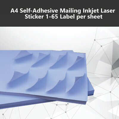 A4 Self - Adhesive Inkjet Laser Sticker Mailing Address 1-65 Labels per sheet