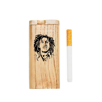 Handmade Wooden Dugout With Ceramic One Hitter Smoking Pipes BOB MARLEY