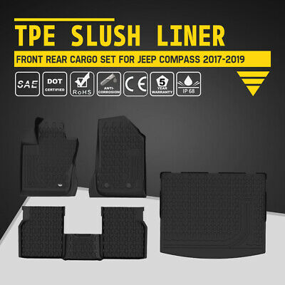 KIWI MASTER Floor Liners TPE Slush Front Rear Trunk Mats for 17-19 Jeep Compass
