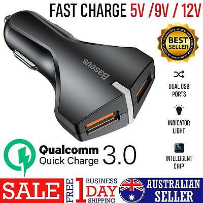 Dual USB QC3.0 Fast Car Charger For Apple Samsung Galaxy S9 Plus S8 Note 9
