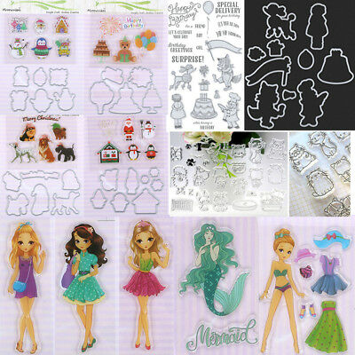 DIY Silicone Rubber Clear Stamps + Metal Cutting Dies Frame Scrapbooking Crafts