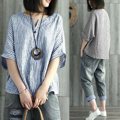 Summer Femme Bande Stripe Manche courte Loose Casual Tops Hauts Chemises T-shirt