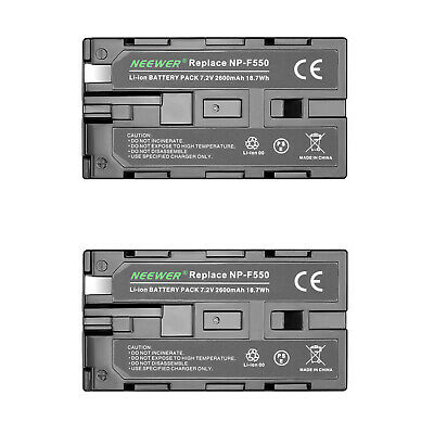 Neewer 2-pack 2600mAh Li-ion Battery Pack Replacement for Sony NP-F550/570/530