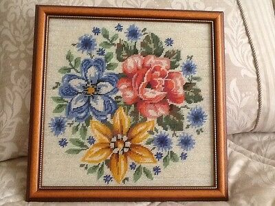 Large Hand Stitched Tapestry / Needlework Floral Picture ~ Professionally Framed