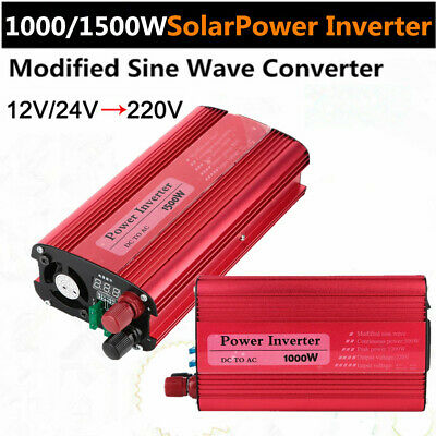 1000W/1500W Modified Sine Wave Power Inverter 12V/24V DC 220V AC Car Converter