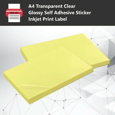 A4 Transparent Clear Glossy Self Adhesive Sticker Paper Label Inkjet Print