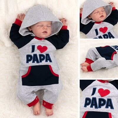 Baby Sweets Strampler Overall Jumpsuit hellgrau navy rot I Love Papa