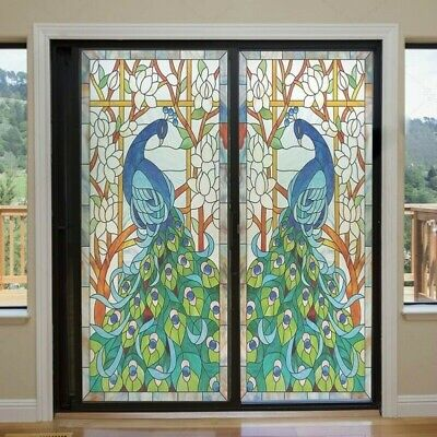 Static Cling Window Films Floral Stained Frosted Glass Sticker Door Closet Decor